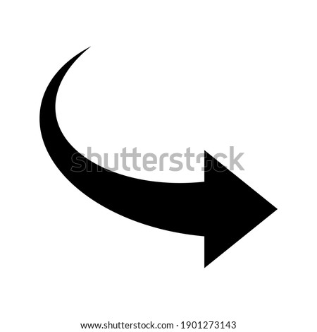 Right arrow icon. Black curve arrow. Modern flat simple arrow button isolated. Cursor sign. Arrow up vector graphic element.