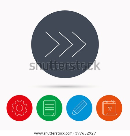 Right arrow icon. Next sign. Forward direction symbol. Calendar, cogwheel, document file and pencil icons.