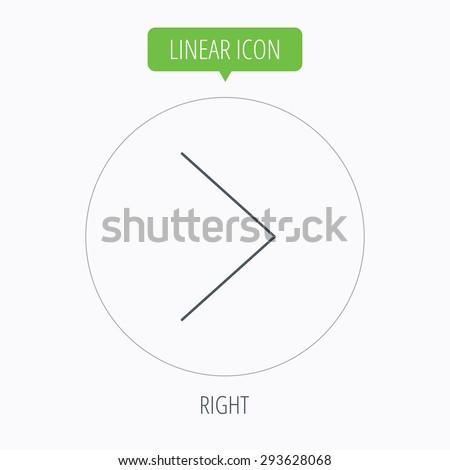 Right arrow icon. Next sign. Forward direction symbol. Linear outline circle button. Vector