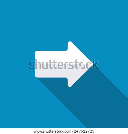 Right arrow symbol on blue background,clean vector. Long shadow
