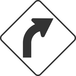 Right Curve Ahead Sign on transparent background
