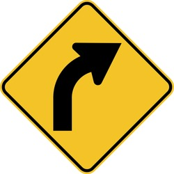Right Curve Ahead sign on white background