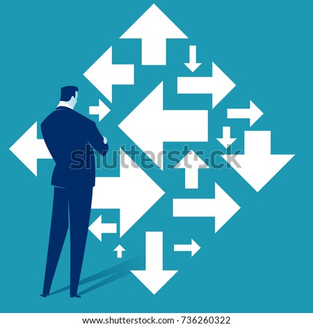 Right direction. A businessman looks at arrows pointing to many directions. Concept business vector illustration