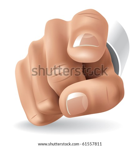 Right Hand with Forefinger Pointing on Viewer. Vector Illustration