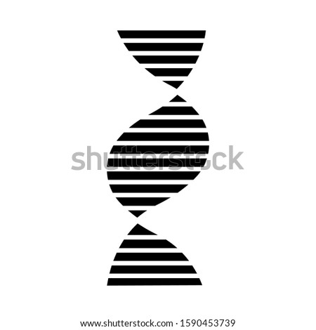 Right-handed DNA helix glyph icon. B-DNA. Deoxyribonucleic, nucleic acid. Chromosome. Molecular biology. Genetic code. Genetics. Silhouette symbol. Negative space. Vector isolated illustration