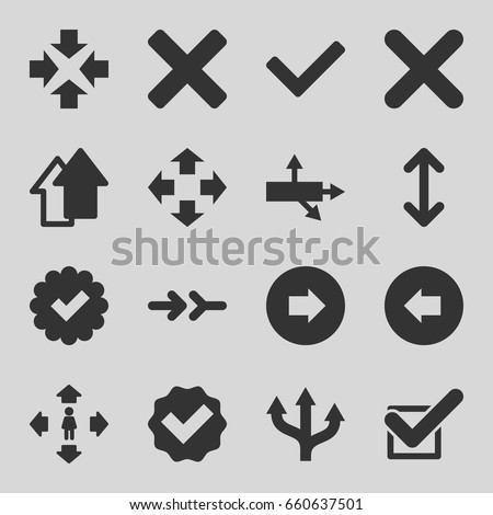 Right icons set. set of 16 right filled icons such as arrow left, arrow right, man move, tick, cross