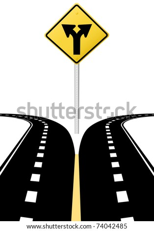 Right left arrows on highway road sign symbol of split paths decision
