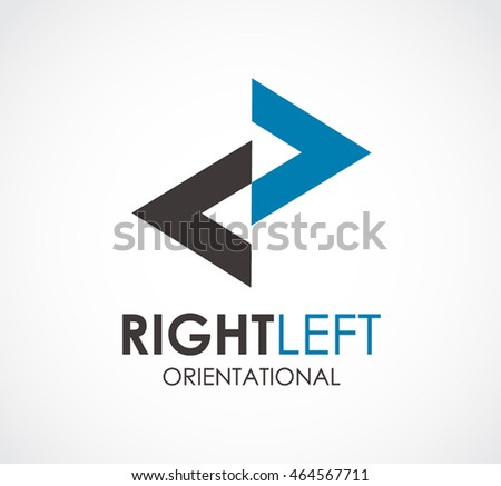 Right left of orientation logo design vector template and abstract triangle arrow business symbol of company identity Logotype concept icon.