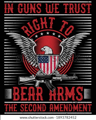 Right to bear arms the second amendment t-shirt design Foto stock ©
