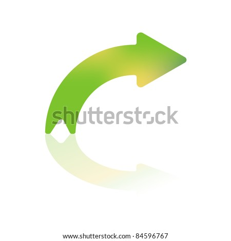 Right Turning Gradient Color Curved Arrow With Reflection