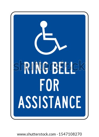 Ring bell for assistance or Handicap assistance sign vector illustration. Blue, white. Hospital symbol.