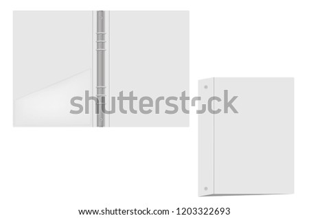 Ring binder with interior pocket, vector mockup. Open and closed gray folder with metal rings isolated on white background, template