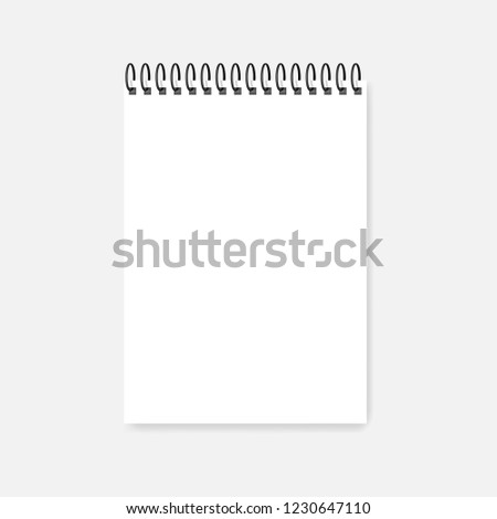 Ring bound A4 notebook mockup. Top wire spiral diary blank cover, vector mock-up. Empty white calendar paper sheet.