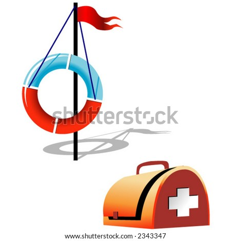 Ring-buoy and first-aid set