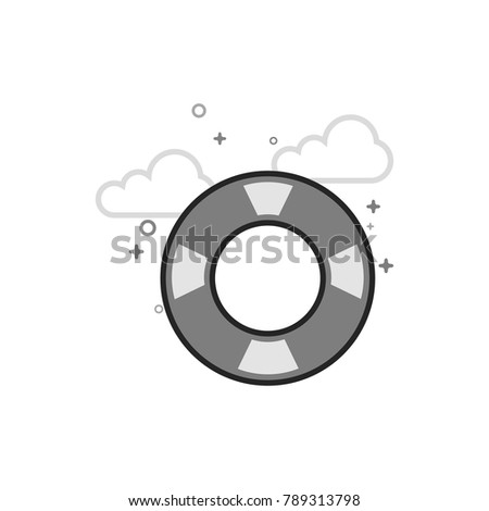ring buoy icon in flat outlined