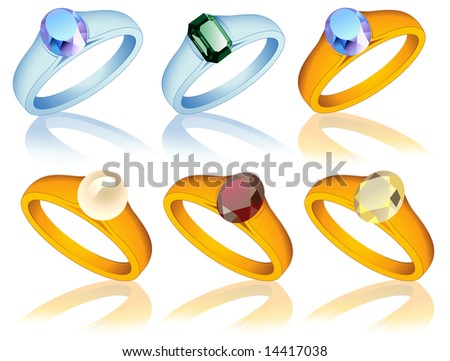 Ring collection with jewel, vector illustration, EPS file included