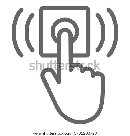Ring door bell line icon, delivery symbol, Hand push bell button vector sign on white background, finger pressing doorbell icon in outline style for mobile and web design. Vector graphics