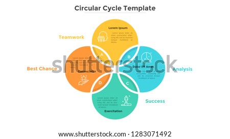 Ring-like Venn diagram with four intersected colorful circular elements. Modern infographic design template. Concept of 4-stepped cyclical business process. Flat vector illustration for presentation. ストックフォト ©
