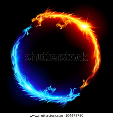 ring of blue and red fiery