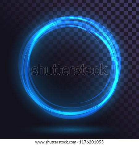 Ring of blue flame, fiery, round frame of fire, glowing neon circle