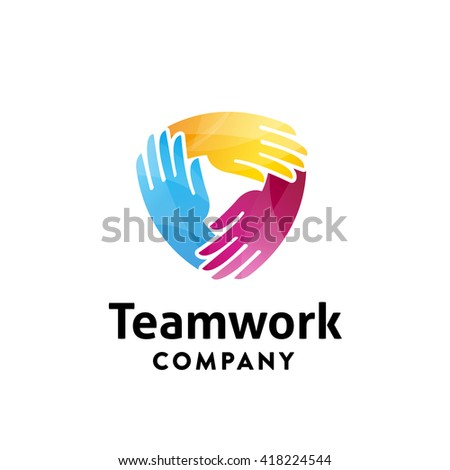 Ring of Hands Trendy & Colorful Graphic Symbol. Represents the Concept of Connection, Team work, Social Community, Mutual Aid, Business Relations, Cooperation, Partnership,  Solidarity, Friendship etc