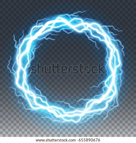 Ring of lightening and thunder bolt or electric, glow and sparkle effect, vector art isolated on transparent background.