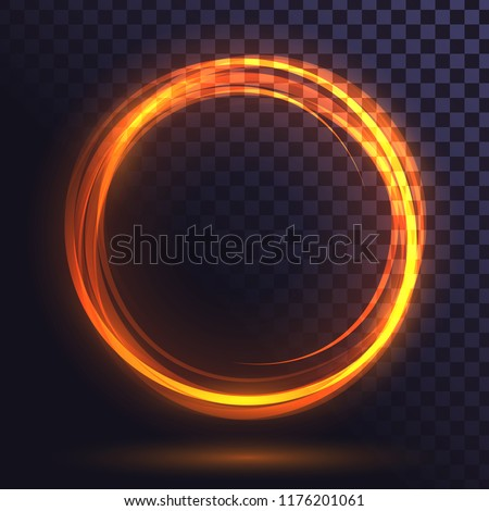 Ring of yellow flame, fiery, round frame of orange fire, glowing neon circle