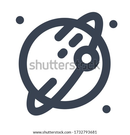 Ring on Planet Icon, Illustration of Astronomy, Geographic, Sky, Solar System  with Filled and Line Style for Website User Interface  Mobile and Wallpaper