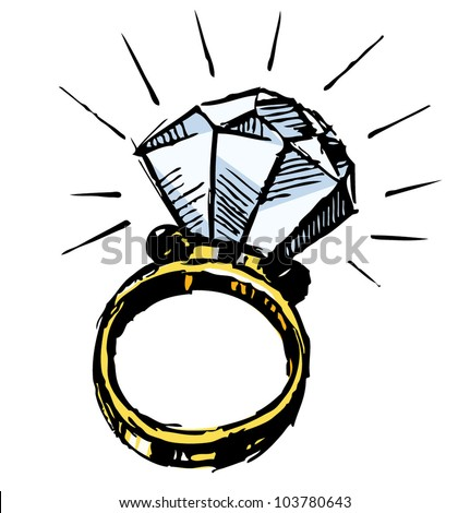 Ring with a big sparking diamond isolated on white background. Sketch vector illustration