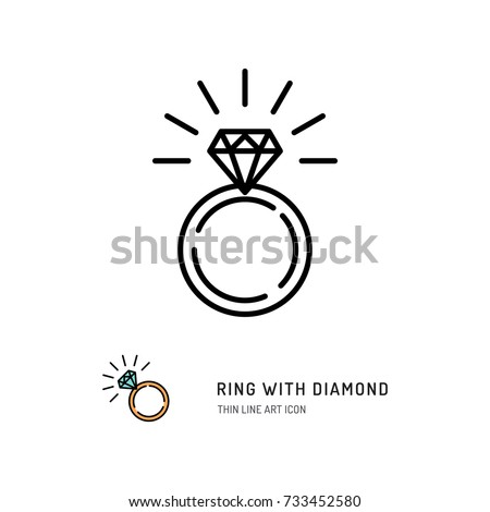 Ring With Diamond Icon, engagement and wedding ring. Line art design, Vector flat illustration Foto d'archivio ©