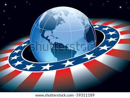Ring with elements of USA flag and Earth with continents North and South America.