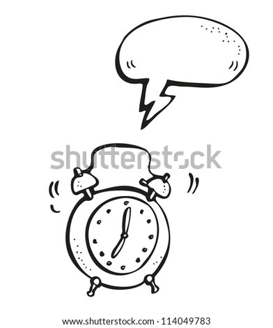 Ringing alarm clock hand-drawn cartoon