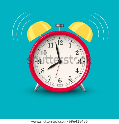 Ringing alarm clock red in bright color style isolated. Vector illustration.