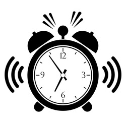 Ringing alarm clock vector icon isolated on white background, last minute notice concept