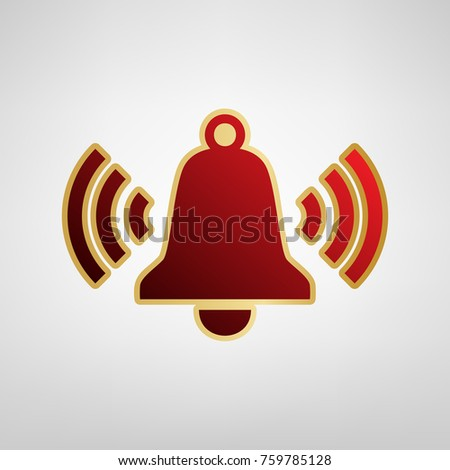 Ringing bell icon. Vector. Red icon on gold sticker at light gray background.