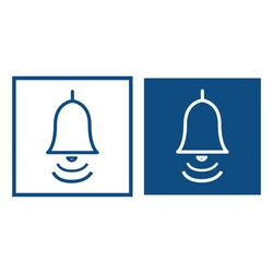 Ringing bell. The symbol is located in a square frame. Vector blue icons.