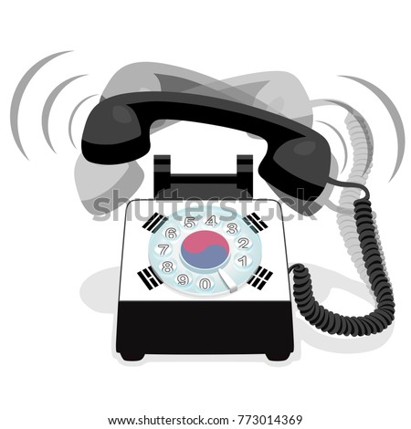 Ringing black stationary phone with rotary dial and with flag of South Korea
