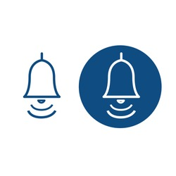 Ringing classic bell. Loud signal symbol. Two options. Vector blue icons.