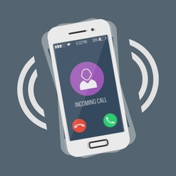 Ringing smartphone flat design vector illustration isolated on colored background. Incoming call on mobile phone device, can be used as icon, symbol, logo or web design and infographic element, eps10.