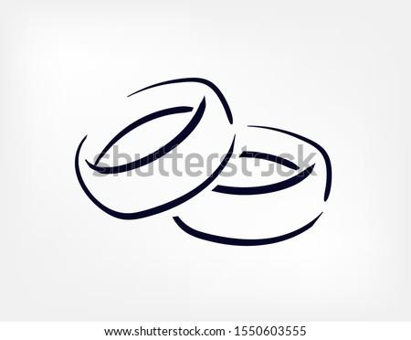 rings vector doodle hand drawn line illustration symbol