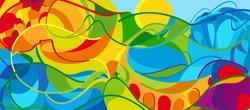 Rio. 2016 abstract colorful background. Rio de Janeiro 2016-2019 Brazil wallpaper. Summer Athletic Sport Game Brazil colorful pattern. Vector Art, Print, web design advertising Brazilian Carnival kids