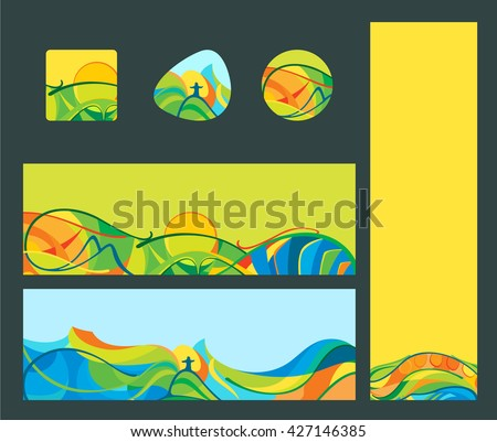 Rio 2016 - banners and buttons set, vector template for web, print. #427146385