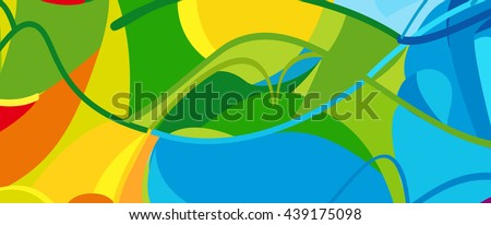 Rio. 2016 Brazil Games abstract colorful pattern. Summer color of athletic games 2016 - Green, orange, yellow, blue. Color shapes and lines. Summer Brazilian Sport background. For design advertising. #439175098