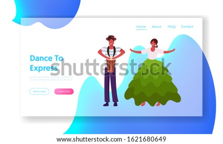 Rio Carnival Entertainment Show Program Website Landing Page. Drummer and Girl in Colorful Gown Dancing Samba. Talented Musician Characters Performing Web Page Banner. Cartoon Flat Vector Illustration