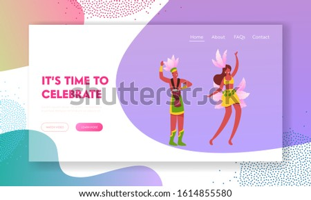 Rio Carnival with Entertainment Show Program Website Landing Page. Excited Drummer Playing Drums, Beautiful Girl in Feather Dress Dancing Samba Web Page Banner. Cartoon Flat Vector Illustration