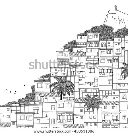 Rio de Janeiro, Brazil - hand drawn black and white illustration with space for text
