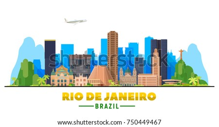 Rio De Janeiro (Brazil) skyline with panorama in white background. Vector Illustration. Business travel and tourism concept with modern buildings. Image for presentation, banner, web site.
