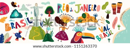 Rio De Janeiro Brazil. Vector illustration with Symbols and icons of Brazil
