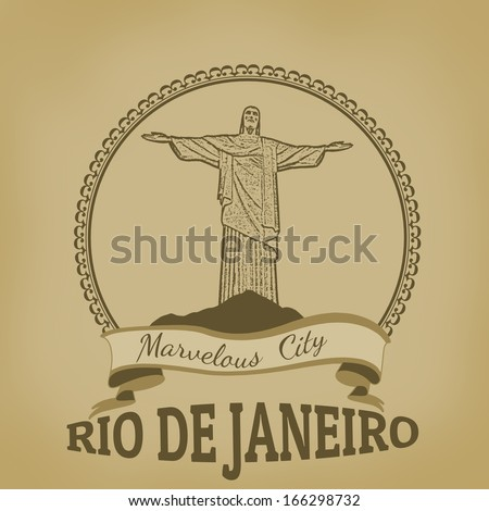Rio de Janeiro ( Marvelous City) on vintage postcard, vector illustration
