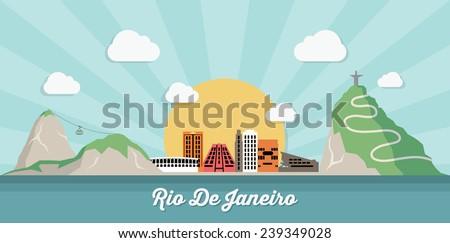 Rio De Janeiro skyline - flat design - vector illustration